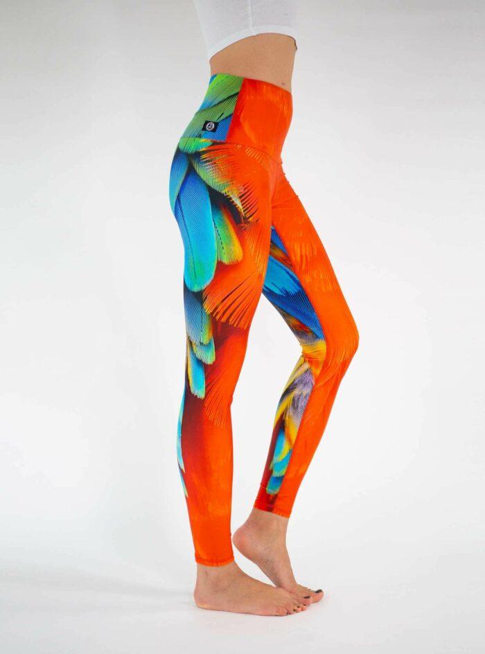 Colorful-Feather-Leggings-Festival-Leggings-Arctic-Flamingo