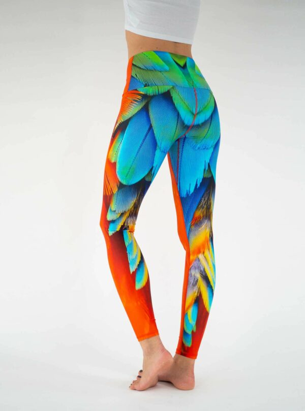 Orange-High-Waist-Feather-Leggings-Arctic-Flamingo