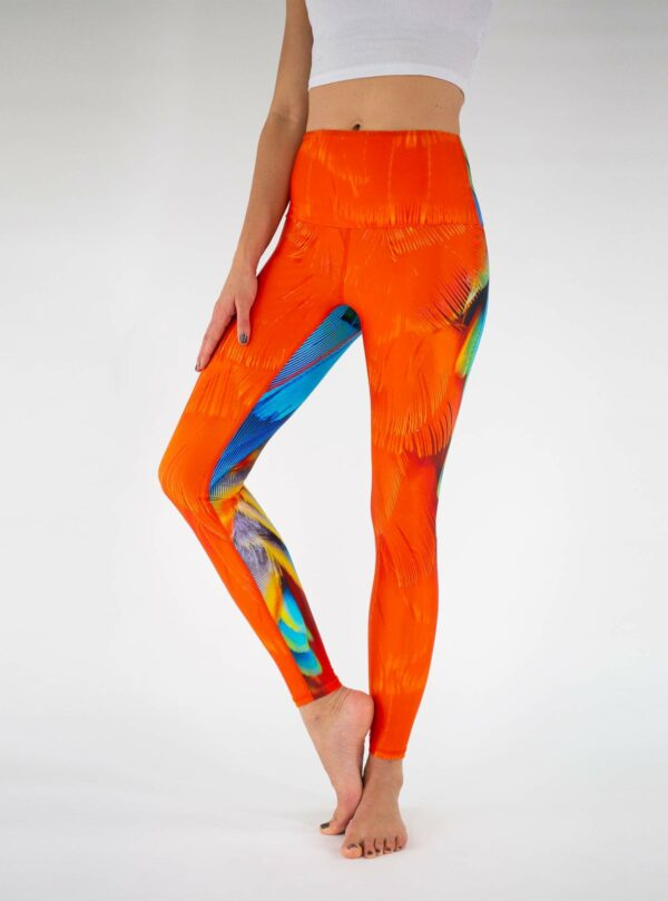 Orange-High-Waist-Parrot-Yoga-Leggings