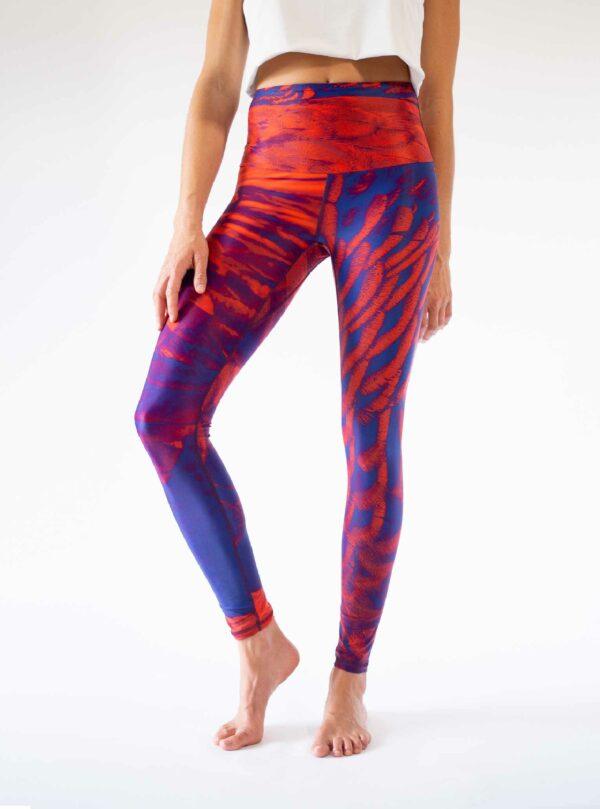 Red ecofriendly yoga leggings