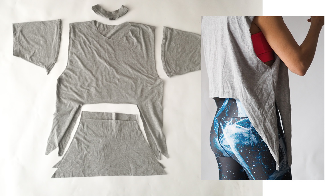 04f7a593bc8 Easy DIY Yoga Top. Cropped Yoga Top From Old T-shirt | Arctic Flamingo