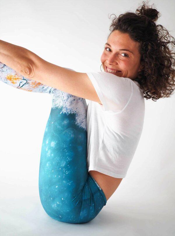 Türkis Weiß Yoga Leggings hergestellt in Deutschland