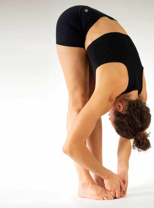 Yoga-Shorts-Yoga-Hose-Blickdicht-Schwarz-Arctic-Flamingo