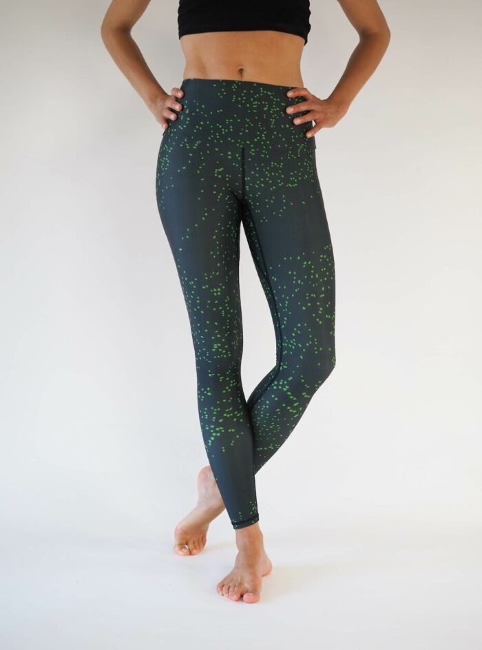 black green dots yoga leggings