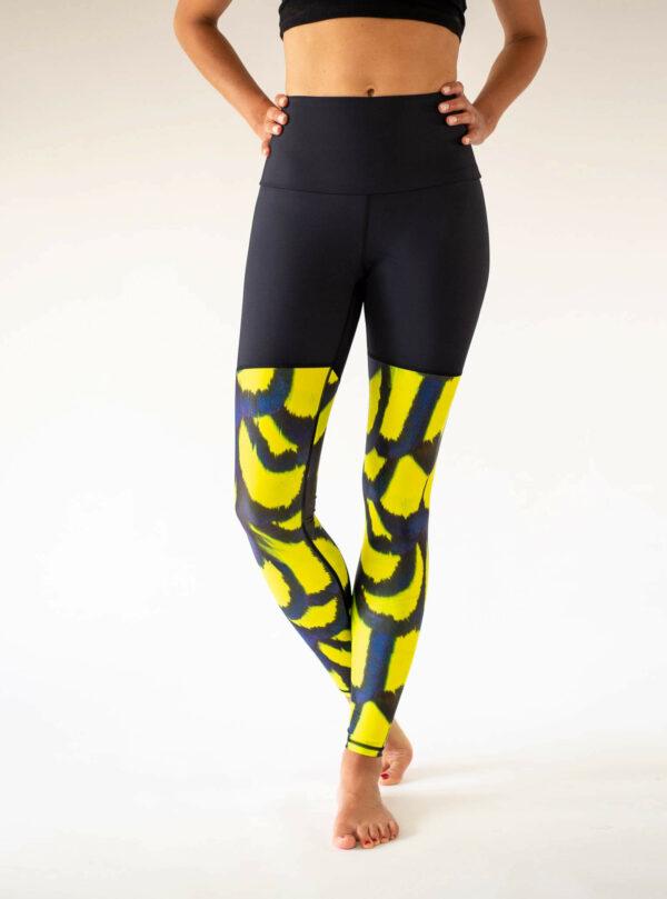 Schwarz Gelb Yoga Leggings Kleidung Arctic Flamingo