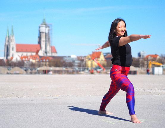 Lila Yoga Leggings Arctic Flamingo